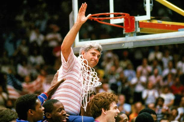 Bobby Knight cuts down the nets for Indiana basketball. The Hoosiers were once a major player in college basketball.